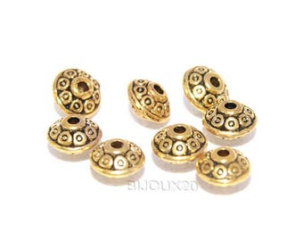 10 spacers wheel Gold 6mm bicone M01008 saucer