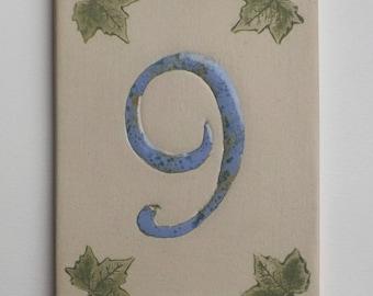 Door number sandstone, ivy leaves, number '9' blue crystallized