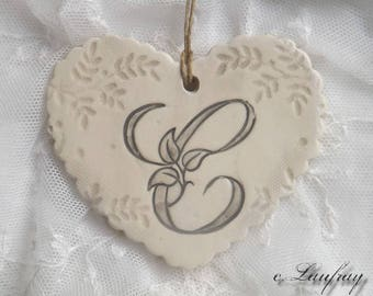 Heart shabby chic style, antique beige-grey ceramic with print lace, original ' it
