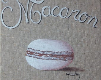 "Painting on linen, acrylic painting ""Macaroon"""