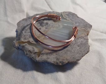 Wire wrapped copper cuff bracelet