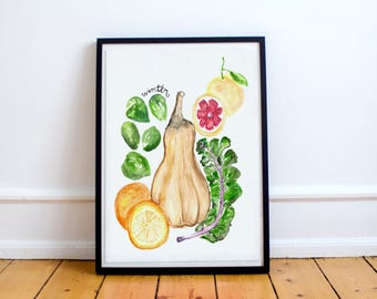 Winter Produce Watercolor Print