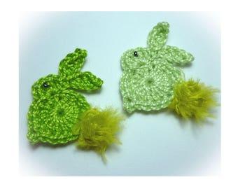 set of 2 bunnies applique crochet, 2 shades of green