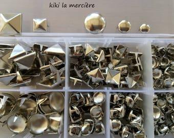 clous a griffes lot de 236 rivets a griffes en métal argenté dans boite de rangement