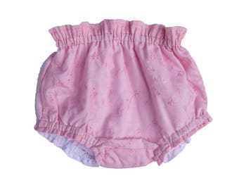 Bloomers baby girl embroidery pink