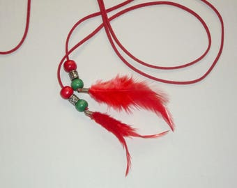 Tie / belt / necklace with red feathers