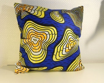 Cover cushion 40 X 40 cm - yellow and blue Wax Collection - 100% cotton wax