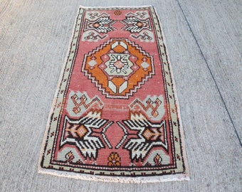 Free Shipping ! 2,9 x 1,5 ft - 90 x 47 cm, Vintage Small Oushak Rug, Wool Low Pile Oushak Rug, Home Floor Rug, vintage rug, Hamadan rug.