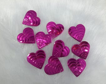 rhinestone paillettes sequins heart pink set of 10