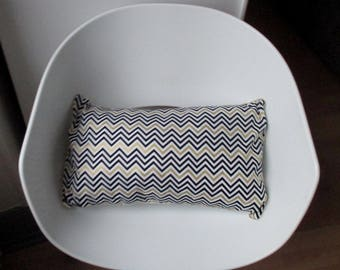 Pillow in Chevron black gold and white 30 * 50cm back elephant