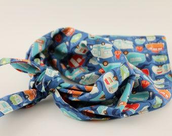 Dark Blue Vintage Campers Dog Bandana, Custom Pet Bandana, Camping Bandana, Boy Dog Bandana, Personalized Bandana, Dog Accesory Bandana Wrap