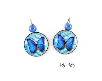 """Earring """"Blue butterfly"""", retro image cabochon!"""