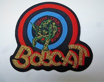 vintage Bobcat lynx in target applique for customization couture gold lettering