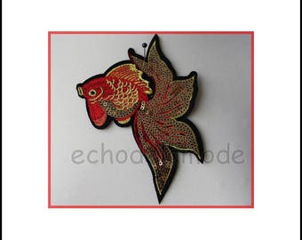 Applique embroidery sequined fish custom clothing or deco ref1