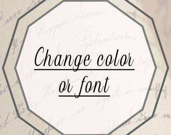 Color or font change