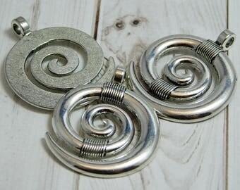 Spiral Pendant - Boho Pendant - Silver Pendants - Tribal Pendant - Circle of Life - Metal Pendants - 2pcs - (1240)