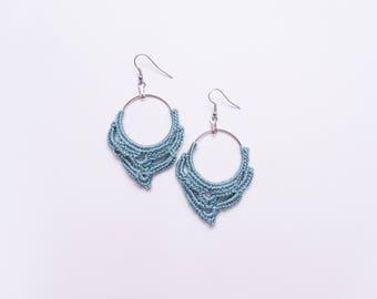 Crochet Earrings Blue Cotton yarn Earrings Great for Birthday Gift Ready to Ship