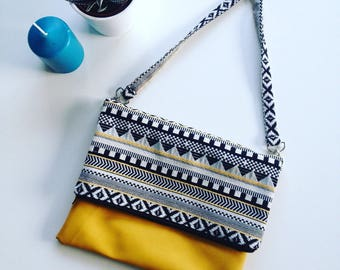 Yellow and black ethnic pattern flap bag