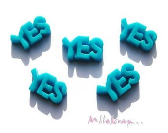 Set of 5 YES!  Blue resin embellishment scrapbooking