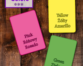 Learn colors in english, polish ans spanish! DIY flashcards for kids!