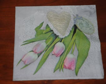 """Paper flowers """"Tulips and lace"""" theme towel"""
