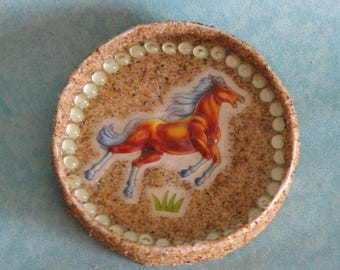 Door decoration wall round horse, sand and Pearl