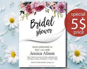 Bridal Shower Invitation Floral bridal invite Printable Bridal Shower Boho Invitation Instant Digital Download Bridal Brunch Invitation diy
