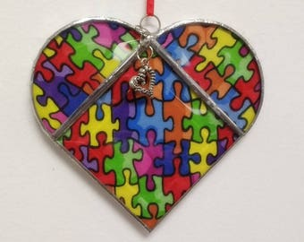 Stained Glass, Heart, Jigsaw Puzzle Lover, Suncatcher, Double Sided Sun Catcher, Heart Charm, Home Decor, Gift for Her, Valentine, Autism
