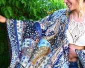 The Perfect Gift for Her The Absolute Ethnic Boho Look Light blue Kimono Caftan with silk texture – Mini Length – One size