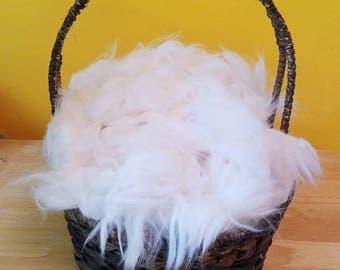 White German Angora Rabbit Fiber - soft raw cloud ready to spin
