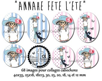 "Digital images for digital collage ""Annahe party summer"" for cabochon jewelry"