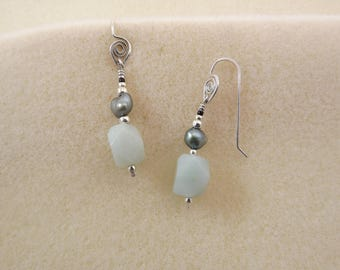 faceted amazonite bead and pearl sterling silver earrings