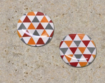 2 cabochons 20 mm resin red grey orange triangles print
