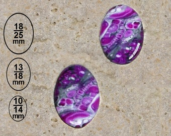 2 cabochons 10 X 14 mm paint effect print available in 25 X 18 mm and 13 X 18 mm