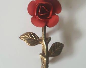 Vintage Enamel Red Rose Brooch / Gold Stem and Leaves