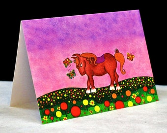 Horse in the field. Card.