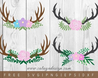 FREE SVG & PNG Link | Floral Antler Heads Cut Files, svg, png, dxf, eps | Commercial Use | circuit, cameo silhouette | fall cut file