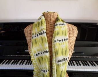 scarf made with a lime green, white, black fabric