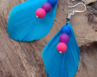 Pearl turquoise feather earrings neon blue, purple, Fuchsia. Country. Sterling Silver bail.