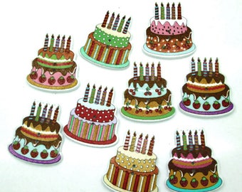 Set of 5 birthday cakes wooden buttons