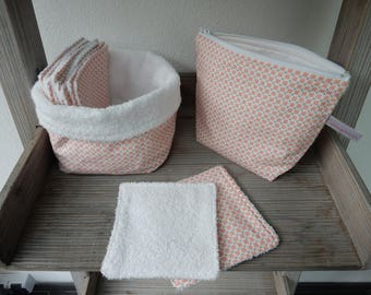 All Kit toiletry bag + basket + pink and white cotton wipes