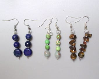 Set of 3 pairs of earrings - natural gemstones.