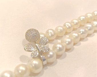 Miniature Butterfly Pearl Necklace