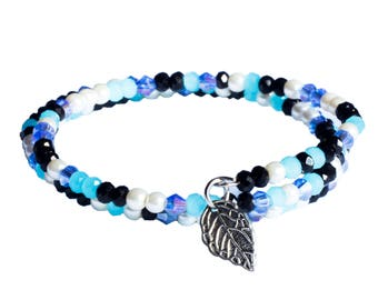 Sky Blue Memory Wire Bracelet With Leaf Charm