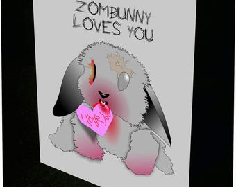 Zombunny Loves you Card