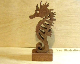 Exotic wood fretwork seahorse sculpture