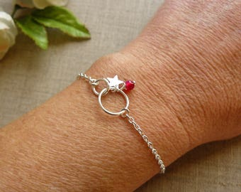 Sterling silver bracelet 925 intertwined rings, Star, fuchsia agate gemstone bead charm