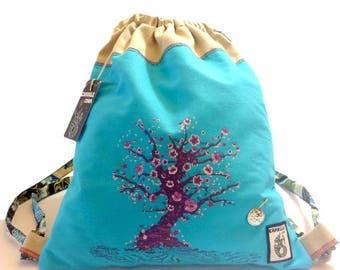 Blue Sakura cotton backpack