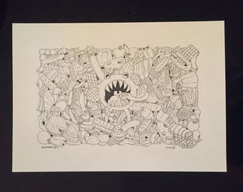Surreal drawing in black ink on ivory paper