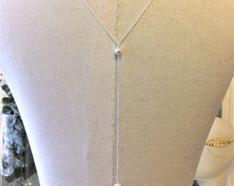 "Necklace back wedding jewelry ""Lou"" chain silver plated with swarovski pearls"